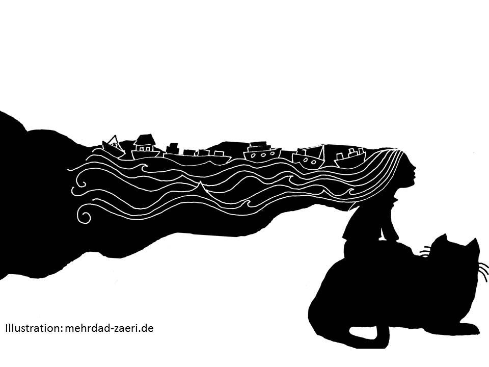 Der Iran als Katze, die auf ihrem Rücken das Kaspische Meer trägt. Eine Illustration des international anerkannten Bilderbuchkünstlers Mehrdad Zaeri-Esfahani.