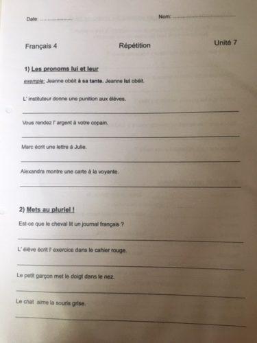 Ein ARbeitsblatt, mit dem französische Personalpronomen in der vierten Klasse gelernt werden.