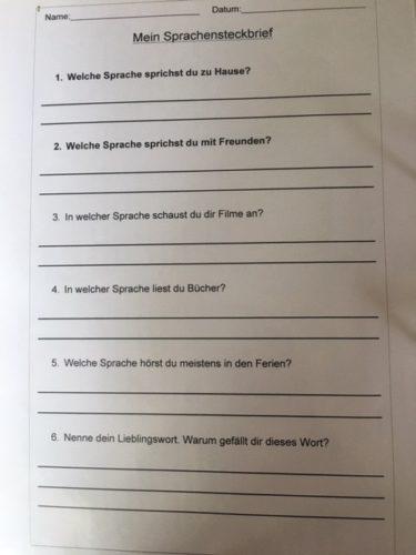 Ein Arbeitsblatt zum Thema Mehrsprachigkeit
