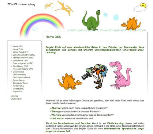 Ein Screenshot der Startseite von DinO-Learning, einer Lernplattform