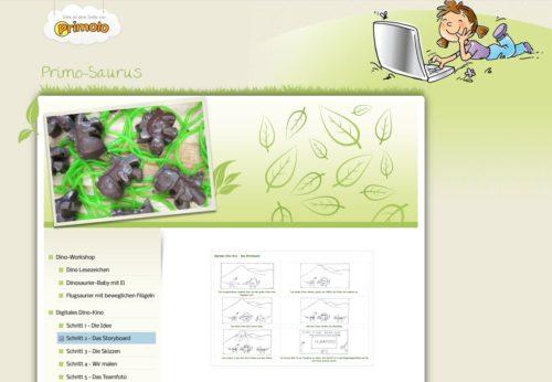 Die Webseite Primolo zeigt ein von Schülerinnen und Schülern erstelltes Projekt zum Thema Dinosaurier.